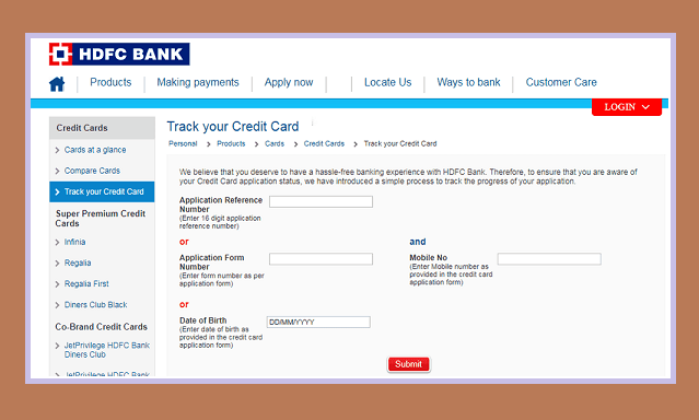 HDFC Credit Card Status Check Online