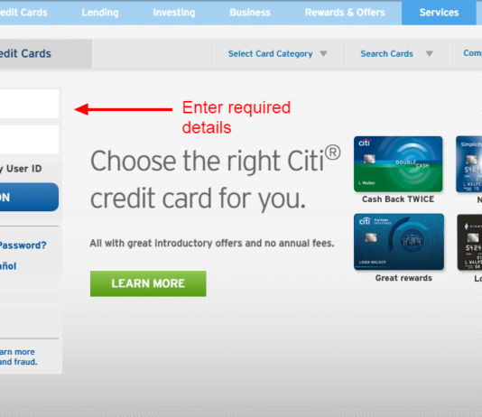 citibank credit card login
