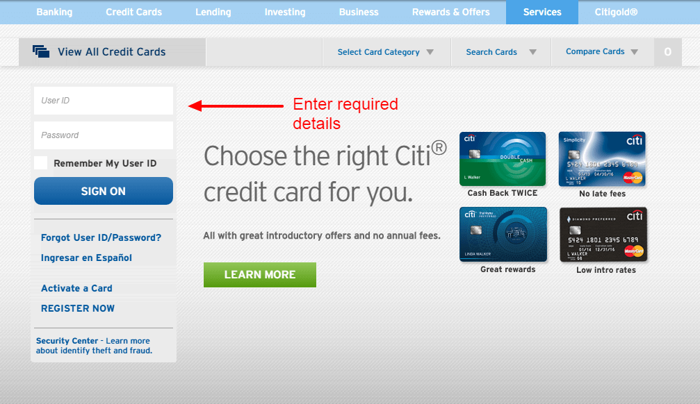 Citi Bank Credit Card Facility with login process - Earning Excel