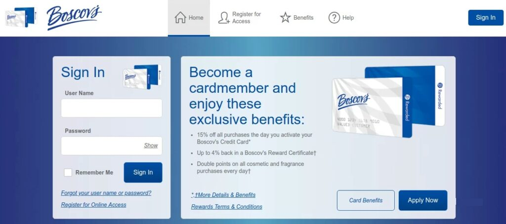 Boscov's credit login process